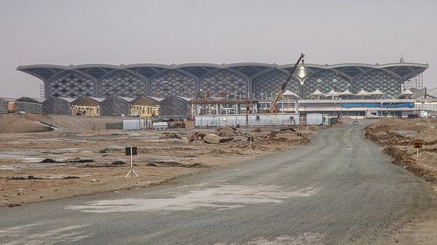 View of the Haramain railway station being built