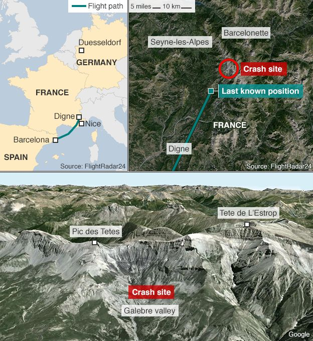 Germanwings Plane U Crashes In French Alps No Survivors - Mountainous aircraft accidents map us