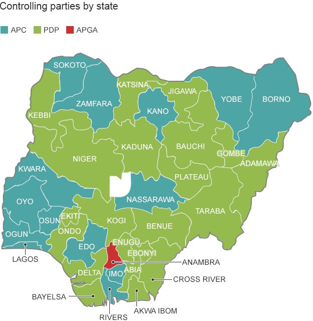 Map Showing The Political Controlling Parties By State In Nigeria