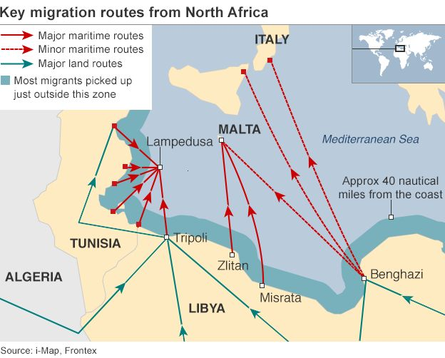 Why libya is springboard for migrant exodus bbc news map showing migrant routes sciox Choice Image