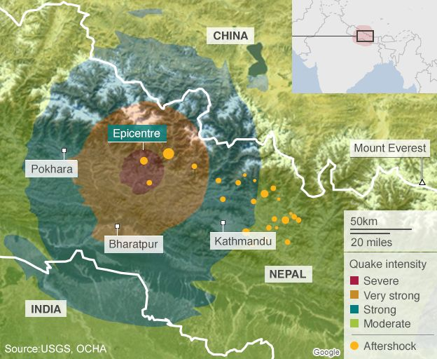 World Earthquake Map News. map of Nepal showing areas affected by earthquake  Eight million people UN says BBC News