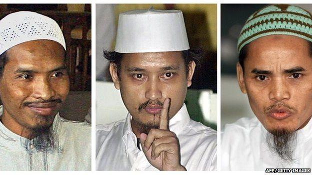 Convicted Bali bombers Ali Ghufron (L), Imam Samudra (C) and Amrozi (R