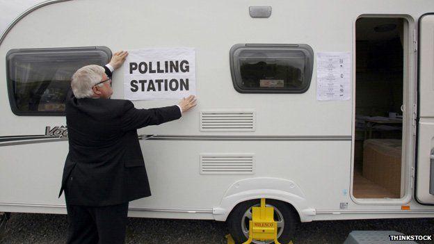 Karavanda polling istasyonu