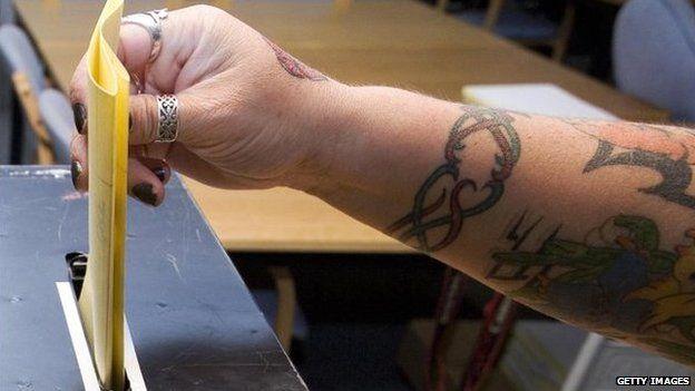Dövme kolu sandıkta oy kullanıyor