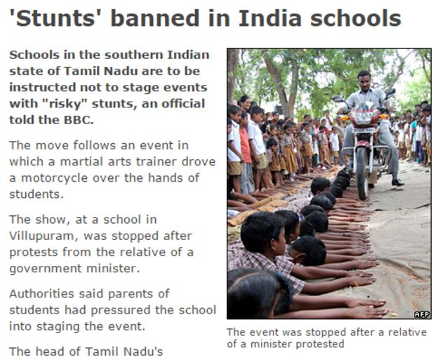 Screenshot of BBC story of 'stunts' banned in India schools