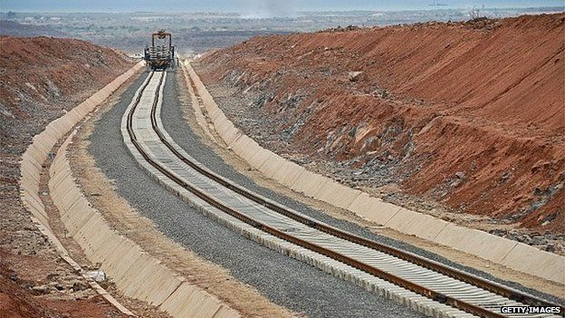 Work In Progress On The New Railway Tracks Linking Djibouti With Addis Ababa