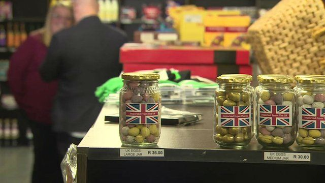 Jars in shop in South Africa containing UK products
