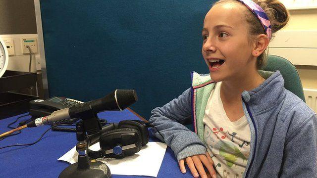 Capri singing in BBC Wales' Carmarthen studio