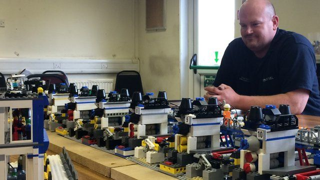 Tata Steel engineer Scott Horwood with his Lego model