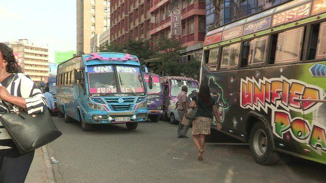 matatus in traffic in Kenya
