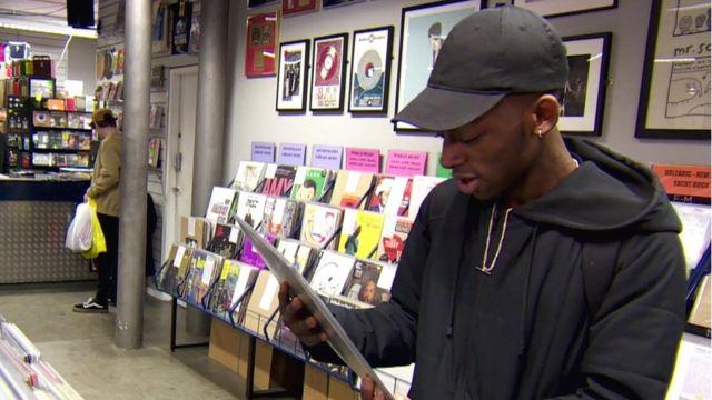 Man buying records