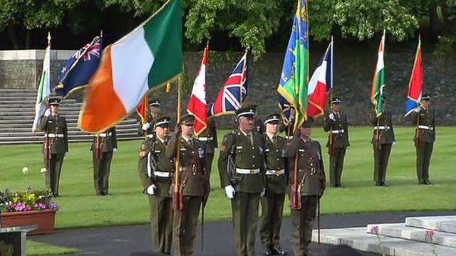 In Dublin, a military ceremonial event was held at the War Memorial Gardens at Islandbridge