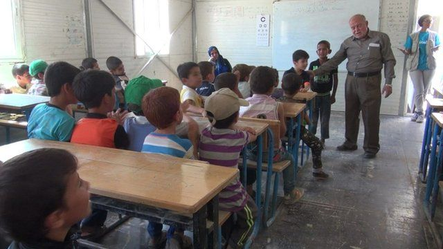 Syrian children in classroom.