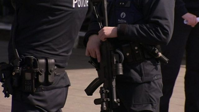 Police at Brussels airport