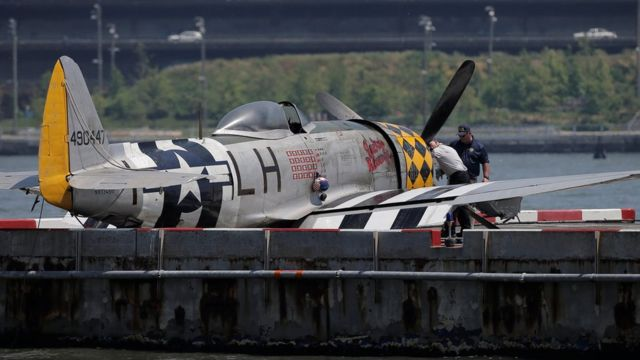 The wreckage of a vintage P-47 Thunderbolt airplane that crashed in the Hudson River