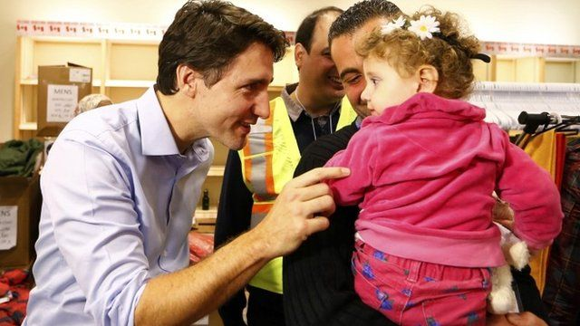 Canada's PM welcomes refugees from Syria