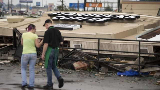 Starbucks cafe destroyed by a tornado in Indiana