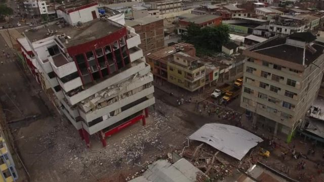 Damaged buildings in Portoviejo, Ecuador