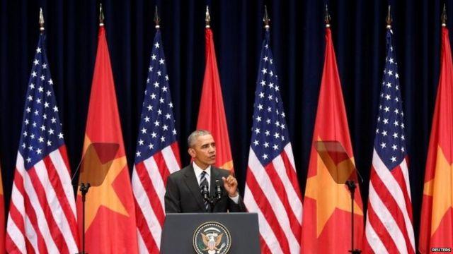 President Barack Obama speaking at the National Convention Centre in Hanoi, Vietnam