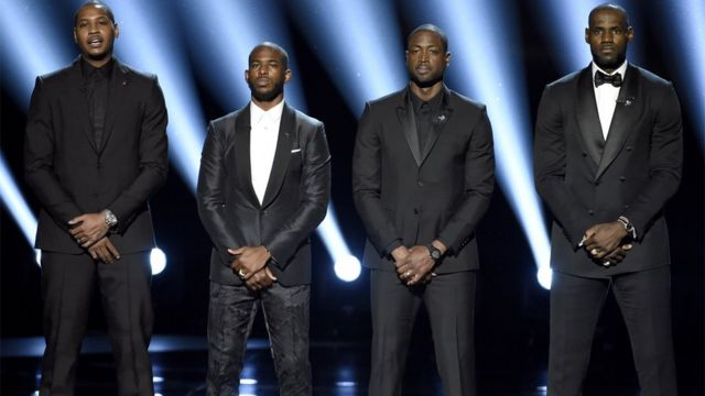 NBA basketball players Carmelo Anthony, from left, Chris Paul, Dwyane Wade and LeBron James speak on stage at the ESPY Awards at the Microsoft Theatre on Wednesday, 13 July 2016, in Los Angeles.