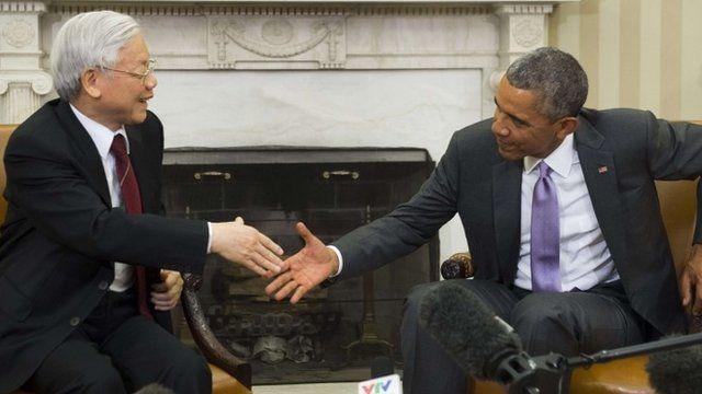 President Obama has met the leader of the Vietnamese communist party General Secretary Nguyen Phu Trong