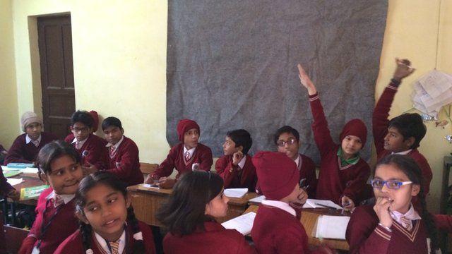 Students at Gandhi Memorial Public School in Delhi