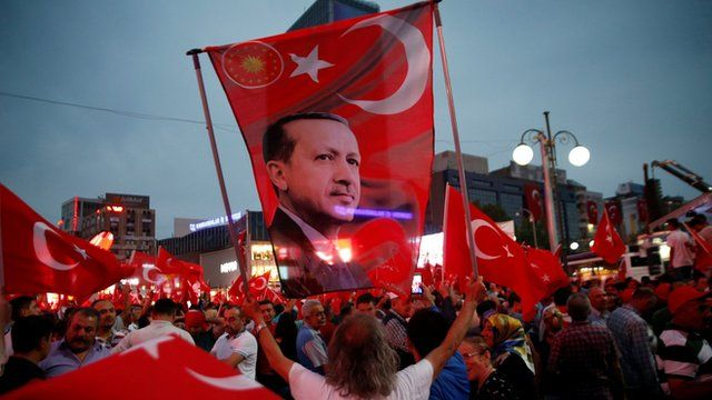 A supporter holds a flag depicting Turkish President Tayyip Erdogan during a pro-government demonstration in Ankara, Turkey, July 20, 2016.