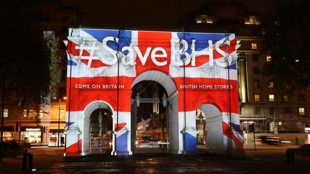 #SaveBHS projection in London as part of a campaign to save the company