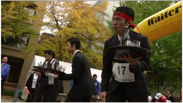 Waiters taking part in the Waiters' Race Japan