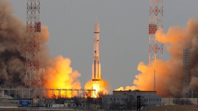 The ExoMars Trace Gas Orbiter launches from Baikonur spaceport in Kazakhstan.
