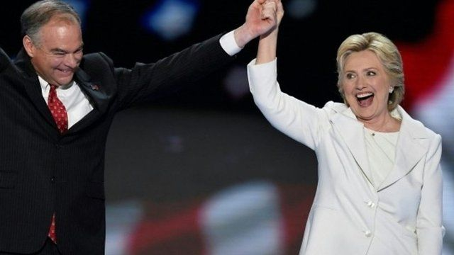 Democratic presidential nominee Hillary Clinton and running mate Tim Kaine