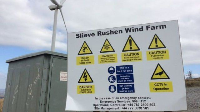 East Cork Crane Hire was working as a contractor at the Slieve Rushen wind farm.