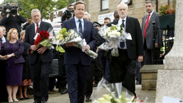 Prime Minister David Cameron and Labour Party leader Jeremy Corbyn lay flowers in Birstall, West Yorkshire, after Labour MP Jo Cox was killed