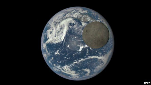 Moon passing over Earth