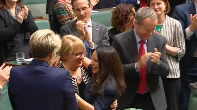Linda Burney being cheered by her colleagues