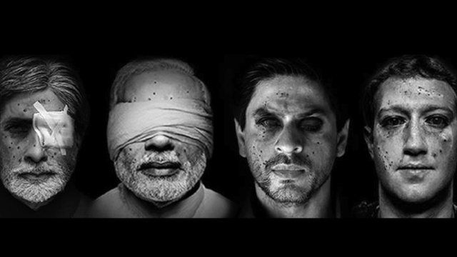 The faces of Mark Zuckerberg, Narendra Modi and two Indian celebrities are shown with photoshopped pellet gun injuries, in black and white
