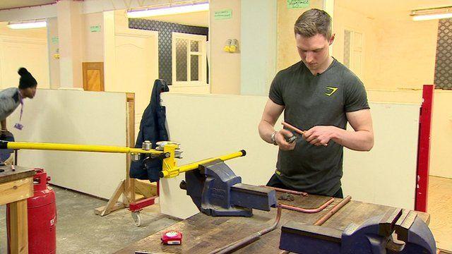School leaver in workshop