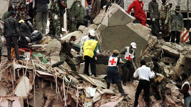 Rescue effort in the aftermath of the bombing in Nairobi