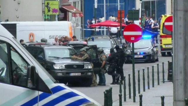 Brussels Police operation near Place de la Monnaie in Belgium.
