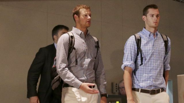 Jack Conger and Gunnar Bentz check in at Rio's international airport