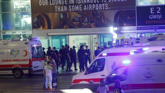 """Ambulance cars arrive at Turkey""""s largest airport, Istanbul Ataturk, Turkey, following a blast June 28, 2016"""