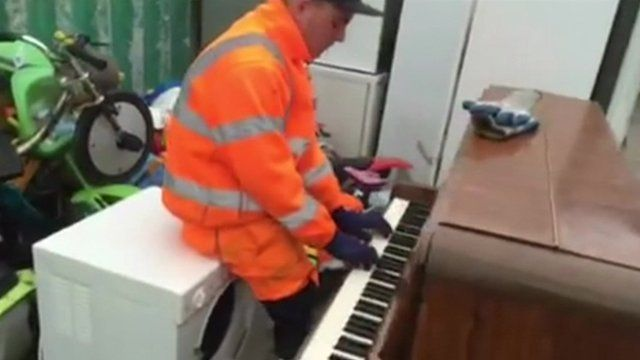 Glen Akenclose plays the piano