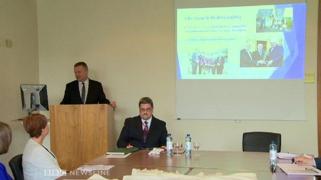 Two members of the Orange Order were invited to give a formal presentation about the order's history to a staff and student seminar at St Mary's University College