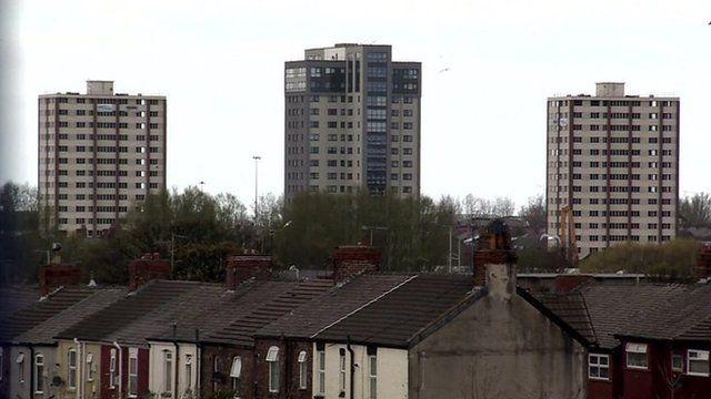 Tower blocks in Merseyside