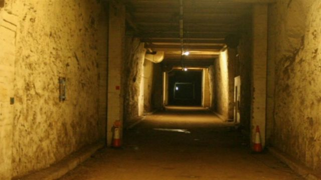 Inside Drakelow tunnels near Kidderminster, a three-mile long underground complex
