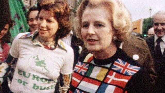 Margaret Thatcher in 1975 wearing a Europe jumper