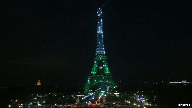 Eiffel Tower lit up in Welsh colours