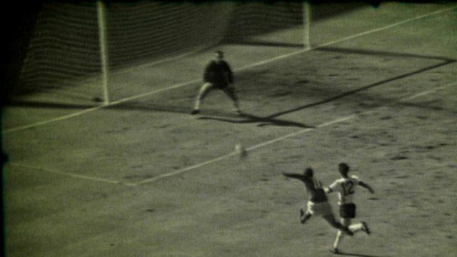Geoff Hurst scores the final goal in the 1966 World Cup final