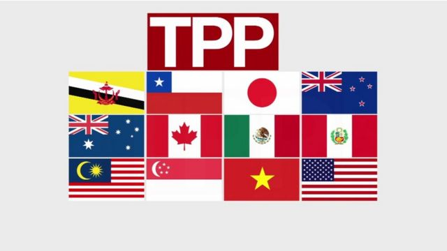Flags of nations involved in the TPP