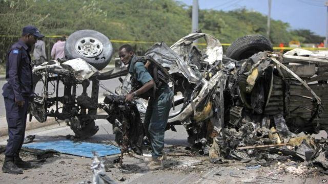 Wreckage of car following explosion